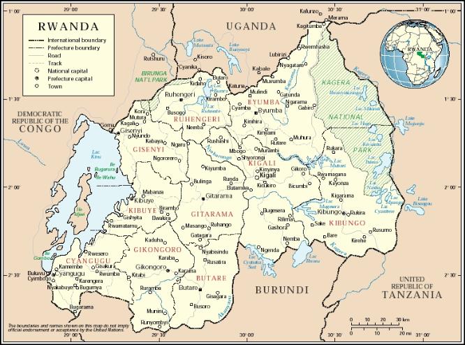 mappa del Rwanda
